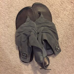 Urban Outfitters Grey Leather Sandals (Size 7)